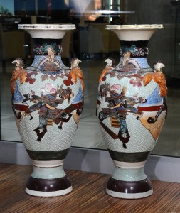 Vases, pair Satsuma porcelain Japan, late 19th century Height: 82 cm