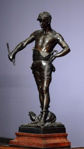 Gladiator figurine Bronze, France Eugene Marioton(1857-1933), signed Height: 57 cm