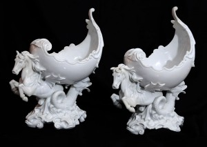 Figurine, pair porcelain Italy, late 19th century Height: 37 cm