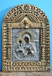 Icon of the Mother of God, ''Of the Three Hands'' Imperial Russia, mid 19th century Dimensions with frame 70 x 50 cm Silver sand (Hallmark 13). Austria-Hungary