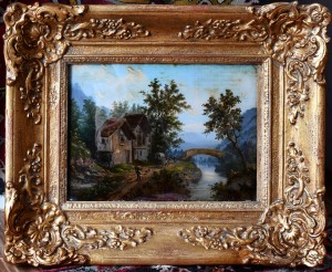 France,painting-oil on glass,end of the 19th century.Dimension  49 x 41 cm (framed)