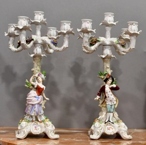 Pair of candlesticks,Capodimonte porcelain.Italy,the beginning of the 20th century