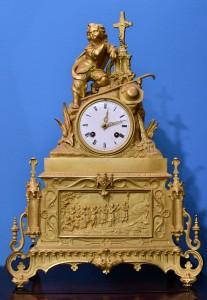 Clock bronze,mercury gilding.Empire 1800-1815,France.Height 44 cm